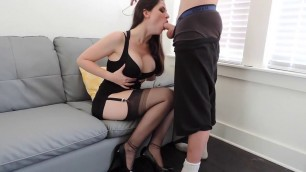 Incredible blowjob from brunette slut with big tits Ashley Alban
