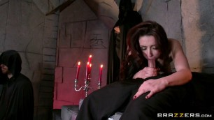 Passionate fuck beautiful girl with red hair in a magical ritual