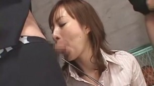 Crazy Japanese model in Hottest Threesome Facial Blowjob movie