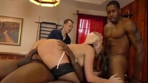 Alena Croft slut with big tits interracial threesome