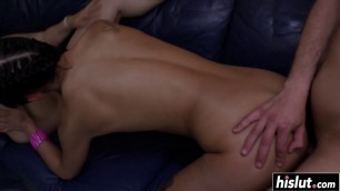 Two chicks share a stiff cock