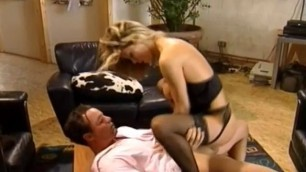 Sarah Nice girl in black lingerie takes a dick between tits