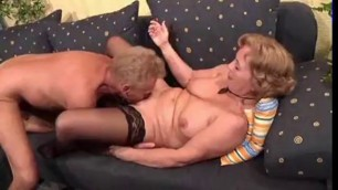 Old German couple sex on the couch