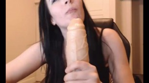 Badgirlmad takes in his mouth a big dildo