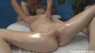 Skinny babe Sensi Pearl loves to get a massage & fucked