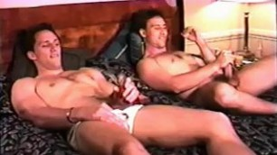 Brothers jerk off jointly amateur masturbation