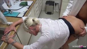 German Teen Nurse Seduce to MMF Fuck at Work in Hospital
