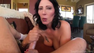 Your Stunning mom Zoey Holloway catches you jerking off and gives you a hand!