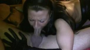 Horny girl giving deep throat blowjob on webcam wet dick