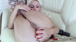 Sexy blonde babe masturbates with dildo