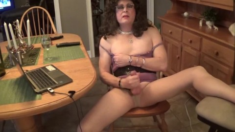 Cumming in girl's slutty dress and clothes