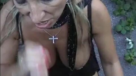 Pierced Blonde Mom Gets A Facial Outdoors