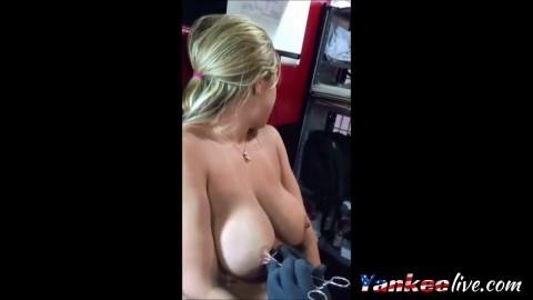 big tits  swinging getting piereced and milk maids
