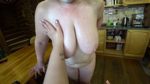 Deep fisting in a chubby hairy pussy. Mature lesbian with a big ass doggystyle shows a gaping pink pussy with cream. Milf POV.