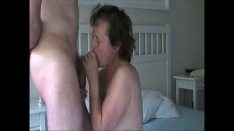 Mature wife giving a blowjob to her hubby and get cum in mouth