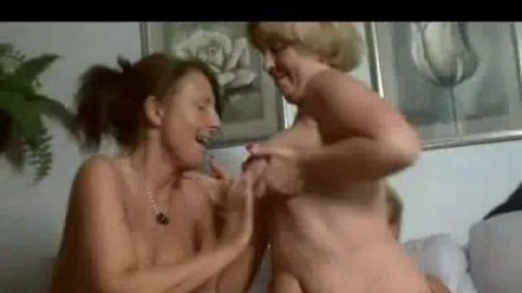 Amateur threesome with two busty MILFs