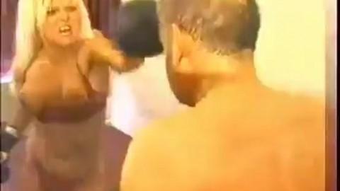 Candi vs Dave mixed topless boxing