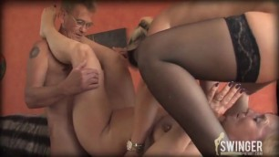 Husband watches wife eat pussy