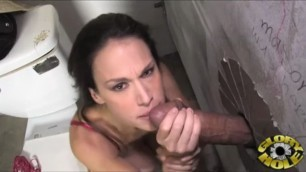 McKenzie Lee with big boobs sucks and Fucks a big cock which sticks out of the wall scene 7