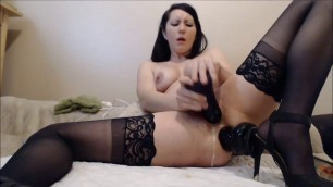 brunette diana in black stockings Fucks herself in anal and pussy big Dildo