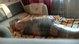 old Mature with big ass wrapped and tickled