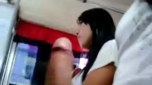 Sexy asian girl in bus cought public flash hunter