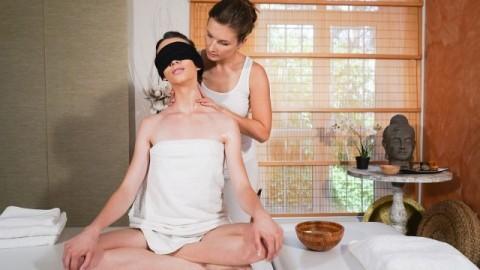 Massage Rooms - Erotic Blindfold Massage For Lesbian Jenifer Jane And Adel Morel